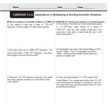 CMP3 - 8th Grade - Unit 3 Inv. 5.4c - Applications in Multiplying Scientific Not