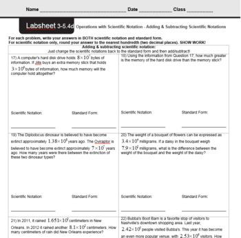 CMP3 - 8th Grade - Unit 3 Inv. 5.4d - Adding & Subtracting Scientific Notations