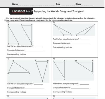 CMP3 - 8th Grade - Unit 4 Inv. 2.2 & 2.3 - Congruent Triangles I and II