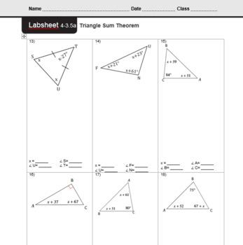 CMP3 - 8th Grade - Unit 4 Inv. 3.5a - Triangle Sum Theorem
