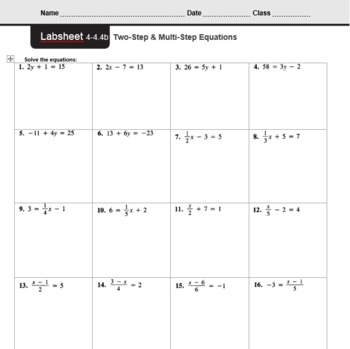 CMP3 - 8th Grade - Unit 4 Inv. 4.4b - Two-Step & Multi-Step Equations
