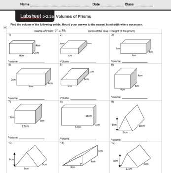 CMP3 - 8th Grade - Unit 5 Inv. 2.3a - Volumes of Prisms (Basic)