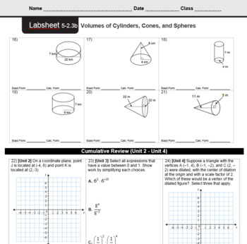 CMP3 - 8th Grade - Unit 5 Inv. 2.3b -Volumes of Cylinders, Cones & Spheres (Bas)