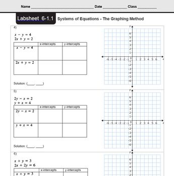 CMP3 - 8th Grade - Unit 6 Inv. 1.1 - Systems of Equations - The Graphing Method