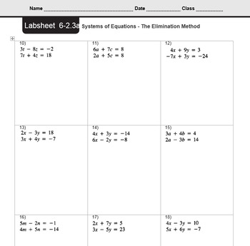 CMP3 - 8th Grade - Unit 6 Inv. 2.3a - Systems of Equations - Elimination Method