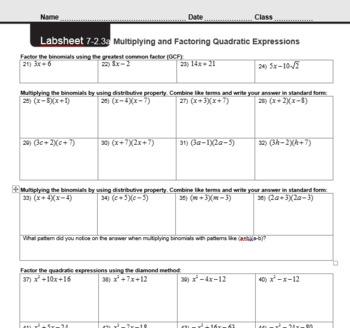 CMP3 - 8th Grade - Unit 7 Inv. 2.3a - Multiply & Factor Quadratic Expression