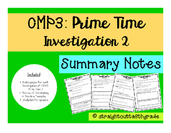 CMP3 Prime Time Investigation 2 Summary Notes
