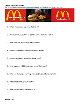 CNBC Titans McDonalds Documentary Movie Guide w/Answer Key