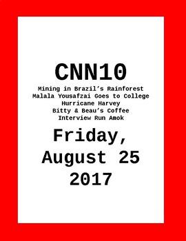 CNN 10: Friday, August 25, 2017 - NO PREP!