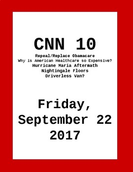 CNN 10: Friday, September 22, 2017- NO PREP!