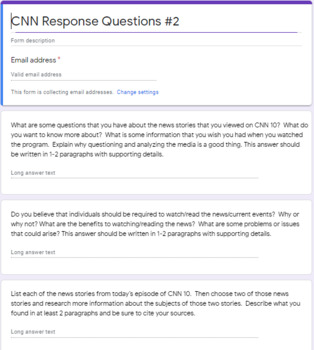 CNN 10 Google Forms Response Questions 2