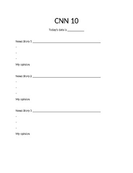CNN 10 Student Worksheet