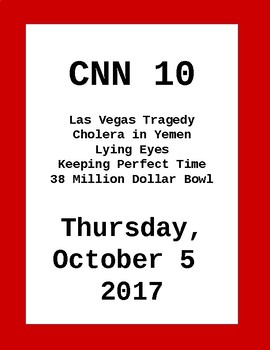 CNN 10: Thursday, October 05, 2017- NO PREP!