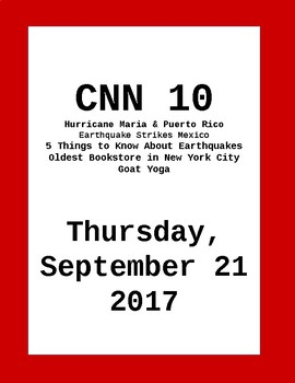CNN 10: Thursday, September 21, 2017- NO PREP!