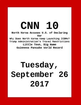CNN 10: Tuesday, September 26, 2017- NO PREP!
