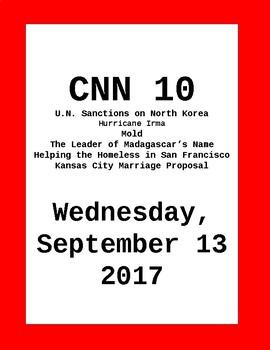 CNN 10: Wednesday, September 13, 2017- NO PREP!