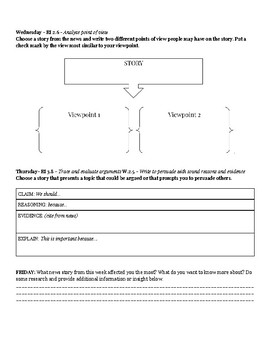 CNN - Daily Graphic Organizer by Standard