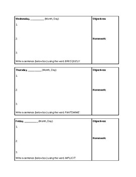NPR Morning Edition Weekly Graphic Organizer for Do Now or Bell-Ringer