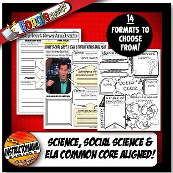 CNN Student News Current Event Analysis, CNN 10 Common Core Worksheets