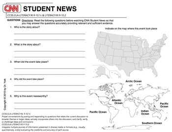 cnn student news daily worksheet by lessons by dr york tpt. Black Bedroom Furniture Sets. Home Design Ideas