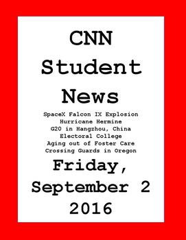 CNN Student News: Friday, September 2, 2016 - NO PREP!