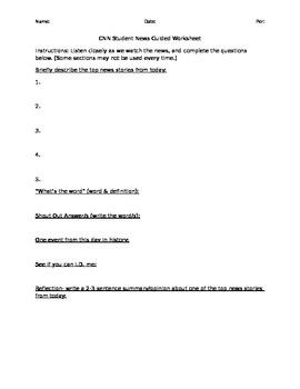 CNN Student News Guided Worksheet