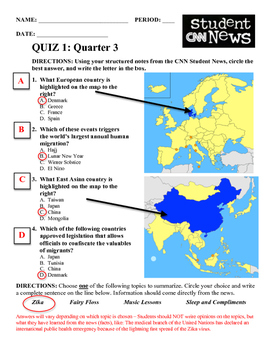 CNN Student News Notes and Quiz Template