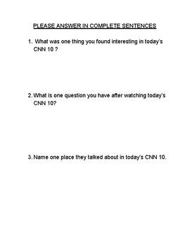 CNN Student News Response Sheet