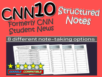 CNN Student News Structured Notes Graphic Organizer, 5 dif