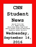 CNN Student News: Wednesday, September 14, 2016 - NO PREP!
