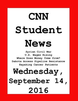 CNN Student News: Wednesday, September 14, 2016 - NO PREP!