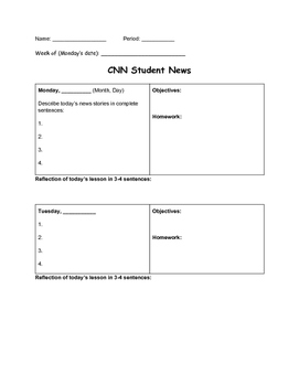 CNN Student News CNN 10 Weekly Graphic Organizer for Do Now or BellRinger