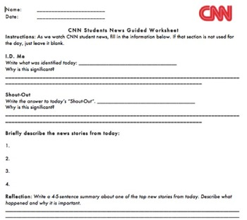 CNN Student News Worksheet by Gina Curtis  Teachers Pay Teachers