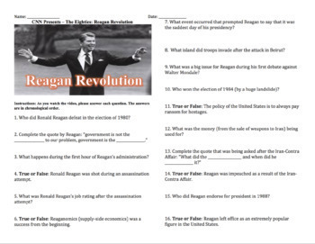 "CNN - The Eighties: ""The Reagan Revolution"""