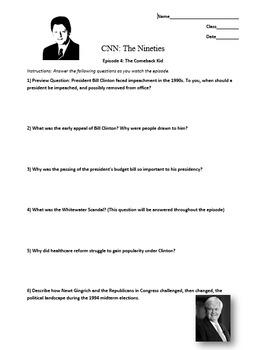 CNN The Nineties: Worksheet Bundle