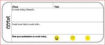 """""""CODA"""" Exit Slips for Upper and Lower Elementary Music"""