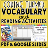 CODING THEMED VOCABULARY & READING ACTIVITIES