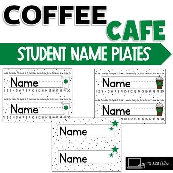 COFFEE THEME DESK NAME TAGS PLATES STARBOOKS STARBUCKS LIKE