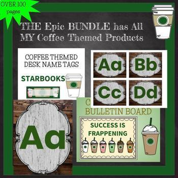 COFFEE THEMED EPIC BUNDLE Bulletin Boards Name Plates reward class jobs pennant
