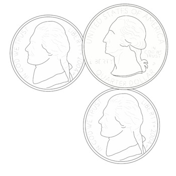 COIN CLUSTERS Clipart U S Currency Black and White