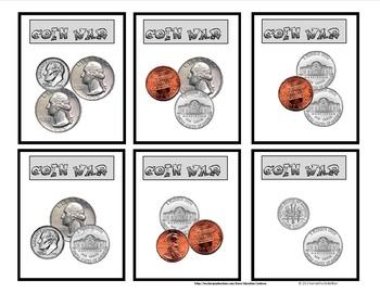 picture about Printable Coins Pdf known as COIN WAR CARD Video game FOR Training COUNTING Cash