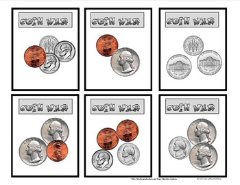 COIN WAR CARD GAME FOR PRACTICING COUNTING COINS by Education Contessa