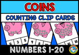 COINS COUNTING CENTER: COUNTING COINS CLIP CARDS: NUMBERS 1-20 COUNTING CENTER