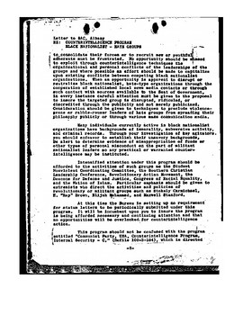 COINTELPRO: FBI Targets Civil Rights Movement and Black Power Movement