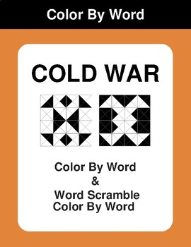 COLD WAR - Color By Word & Color By Word Scramble Worksheets