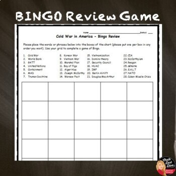 COLD WAR in America TEST & Review Game - Editable/Common-Core (U.S. History)