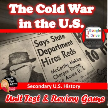 COLD WAR in America TEST & Review Game - Editable/Common-C