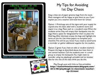 COLLECTING STUDENT SUPPLIES Back to School Ideas / Classroom Management Idea
