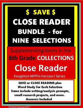 COLLECTIONS - CLOSE READER Bundle 8th Grade Quizzes and HMH Close Reading