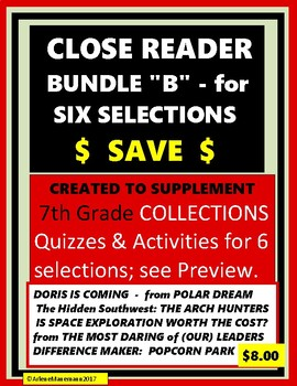 """COLLECTIONS - CLOSE READER Bundle """"B"""" - Quizzes & Activities - 6 Selections"""